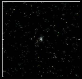 One of the four new dwarf galaxies is seen here in an illustration generated from sky survey catalogue data. Foreground stars have been removed