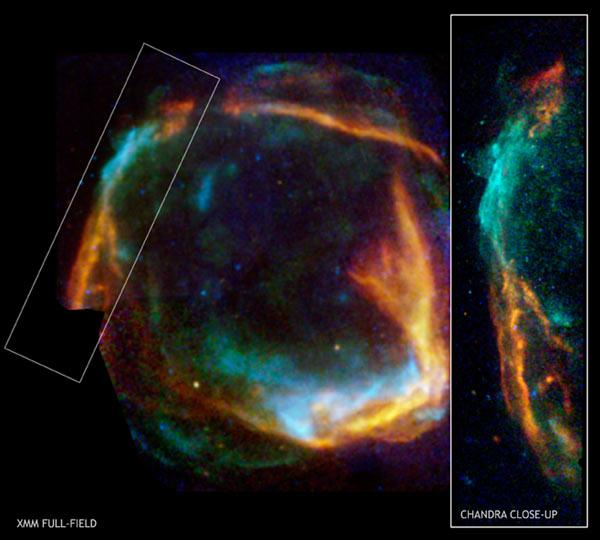 The combined image from the Chandra and XMM-Newton telescopes shows the expanding ring of debris, called RCW 86, that was created after a massive star in the Milky Way exploded. Low-energy X-rays are red, medium energies are green and high energies are blue