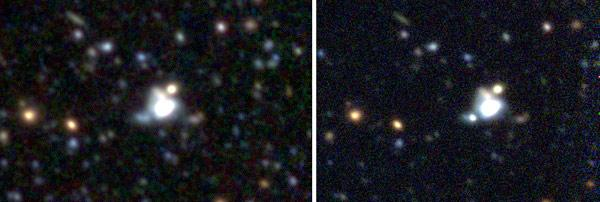 The Canada-France-Hawaii Telescope observed the host galaxy before the supernova (left) and afterward (right). The supernova appears as a small dot below and to the left of the bright blob at centre