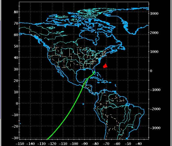 Atlantis's route home runs across the Pacific Ocean and Mexico