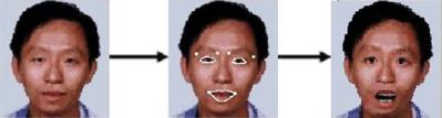 Software that morphs a face to display different emotions (in this case surprise) could reduce chat room misunderstandings