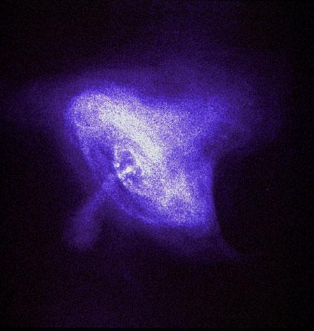 Satellites could one day navigate by fixing on X-ray pulsars like the one inside the Crab Nebula, imaged here by the Chandra X-ray Observatory