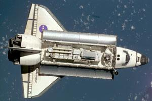 The Space Shuttle in orbit