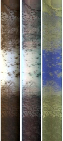 Three views of the same strip of Mars's northern polar region, taken by the CRISM instrument, show visible light (left) and different combinations of infrared wavelengths. In the right-hand strip, ice appears blue and dust yellow