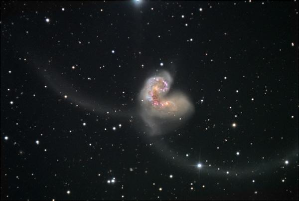 The two Antennae galaxies were once stately spirals and have been deformed by their interaction, creating the long tails seen in this ground-based image