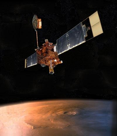 NASA last heard from the Mars Global Surveyor spacecraft on 5 November. Mission managers are not sure what went wrong, but communication problems began shortly after an attempt to move one of its solar arrays (Illustration: NASA/Corby Waste)