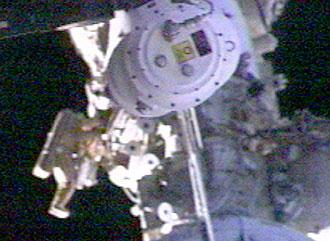The spacewalkers installed the BTN experiment to measure the neutron flux around the ISS