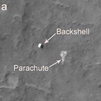 The Mars Reconnaissance Orbiter spots Spirit's backshell and parachute