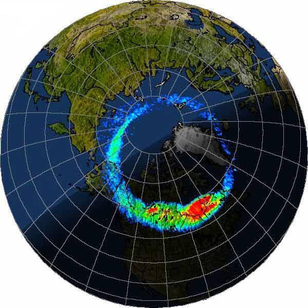 Data from NASA's Polar satellite on the strength of auroras around the north pole are superimposed on a map of the Earth
