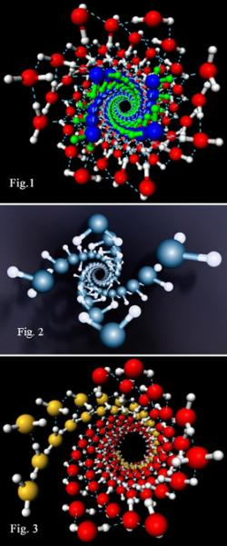 Spectacular ice helix structures form when water molecules are squeezed into carbon nanotubes under high pressure, in computer simulations (Images: Xiao Cheng Zeng)