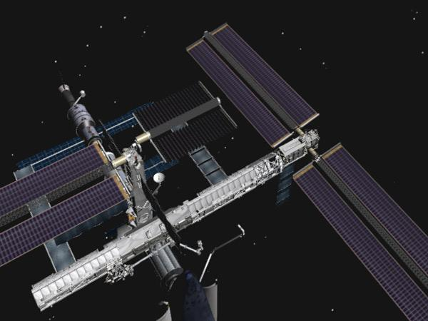 This illustration shows the current view of the ISS, with the port P6 solar array only partly retracted (centre) (Illustration: NASA)