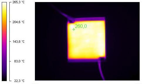 Thermal imaging shows that the material can uniformly heat the surface it is sprayed onto