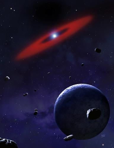A glowing ring of metal vapour is all that remains of an asteroid that strayed too close to a hot white dwarf star (Illustration: Mark A Garlick)