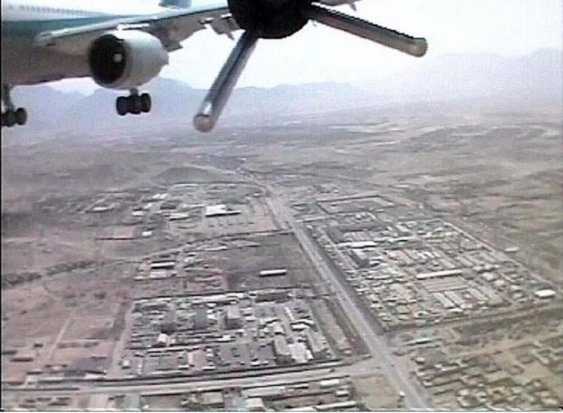 A German army UAV over Kabul in 2004 as it almost hits an Afghan jet carrying more than 100 passengers