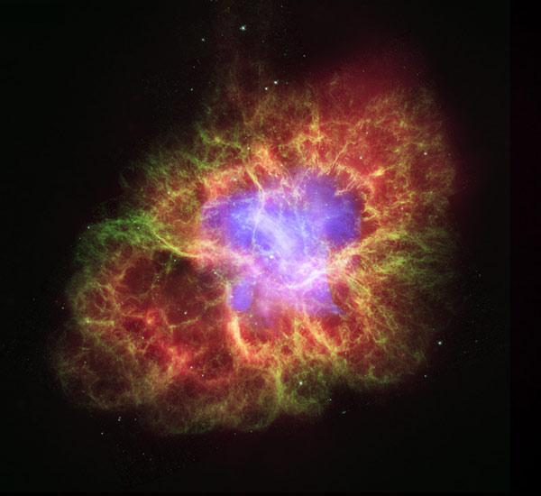 The 6-light-year-wide Crab Nebula was created by a star that blew up nearly 1000 years ago, leaving behind an unusual neutron star that may boast four magnetic poles