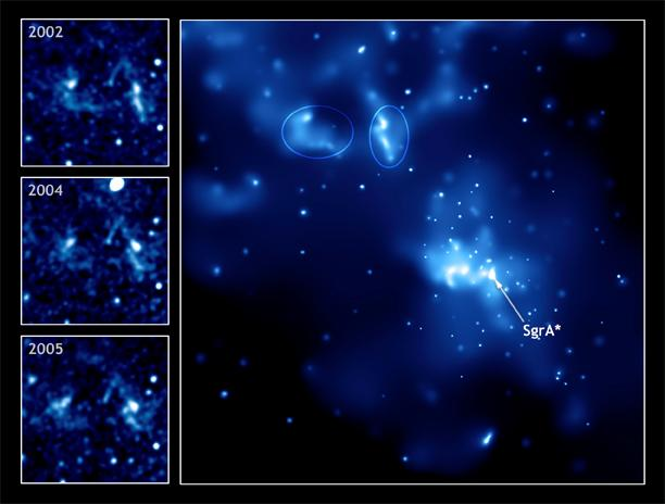 The echo of an outburst from the Milky Way's supermassive black hole produces subtle changes in the shape and brightness of nearby gas clouds in this series of Chandra images