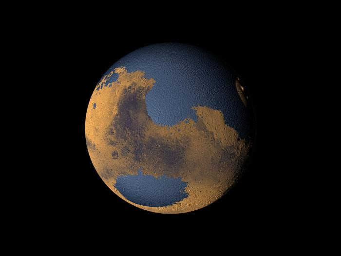 Mars once had enough water for a global ocean several hundred metres deep, but where has it gone? (Illustration: NASA/Greg Shirah)