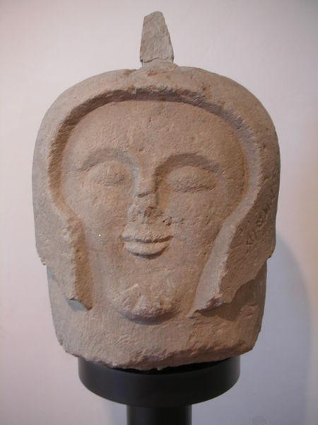 Etruscan cippus (grave marker) in the shape of a warrior head. Found in Orvieto, Italy