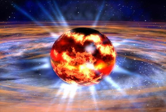 A neutron star sits inside a swirling disc that deposits matter on its surface, leading to recurrent explosions (Illustration: NASA/Dana Berry)