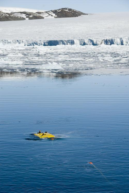 The remote-controlled submarine emerges after a trip under the ice