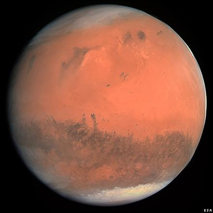 A true-colour image of Mars taken by the Osiris camera on Rosetta, from a distance of about 240,000 kilometres