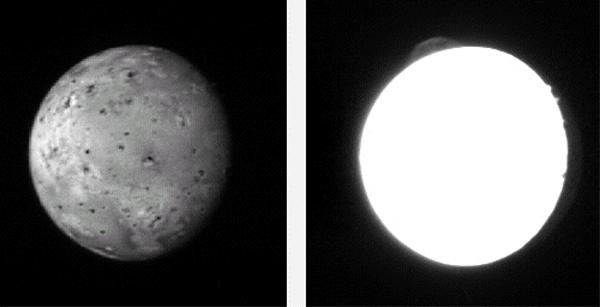 The moon Io (left) is the most volcanically active body in the solar system. A plume from its volcano Tvashtar is seen near the top of the right-hand image. The bright spots on the right side of the moon are tall mountains