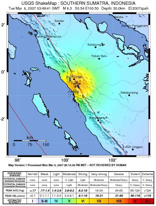 The 0350 GMT earthquake was triggered 50km north of Padang, and shaking was felt across the width of Sumatra (from orange: very strong, to blue: light)