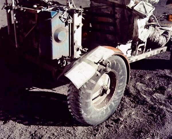 On the Apollo 17 mission, astronauts Gene Cernan and Harrison Schmitt repaired their lunar rover's fender with maps, clamps and duct tape to try to keep dust from being kicked up everywhere when they drove around the lunar surface