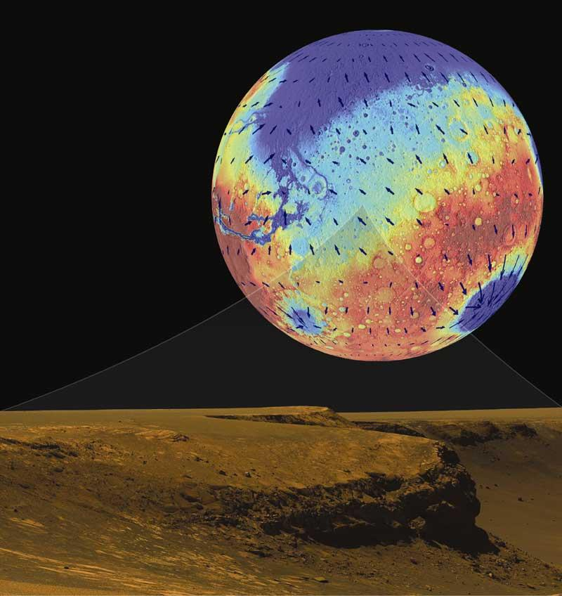 Patterns of groundwater flow (arrows) show the water should surface at Meridiani Planum (centre of globe), producing layered sediments seen by the Opportunity rover (bottom) (Illustration: J C Andrews-Hanna/R J Phillips/M T Zuber and NASA/JPL/Cornell)