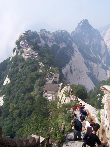 Haze shrouds the temples at the top of Mount Hua, near the meteorological observatory