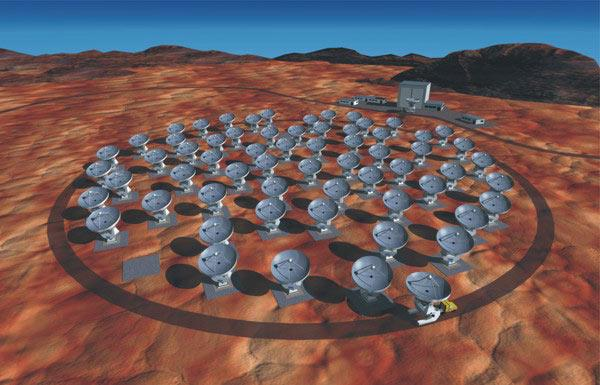 ALMA, based in Chile's Atacama desert, will use up to 64 antennas when it is finished in 2012 (Illustration: NRAO/AUI and ESO)