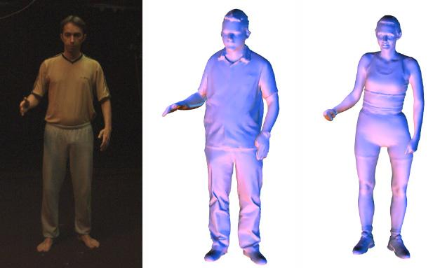 The movements of an actor (left) can be pasted onto detailed laser scans of other people (right) (Image: Edilson de Aguiar/Max Planck Institute for Computer Science