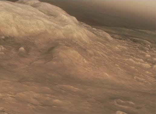 The Columbia Hills loom in this still from a virtual flyover generated from MRO images