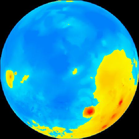 Mars's northern hemisphere is lower in elevation – by about 5 kilometres – than its southern hemisphere (see image below). This coloured topographical map shows low elevations in blue and high elevations in yellow and red. The map is centred on a latitude of 55° north (Illustration: Mike Caplinger/MSSS)