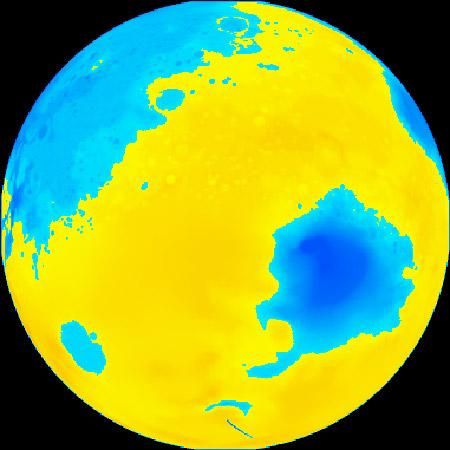 Mars's southern hemisphere is higher and more heavily cratered than the northern hemisphere, suggesting it is older terrain. The two low elevations (blue) in this map, which is centred on the southern mid-latitudes, are the impact basins Argyre and Hellas (Illustration: Mike Caplinger/MSSS)