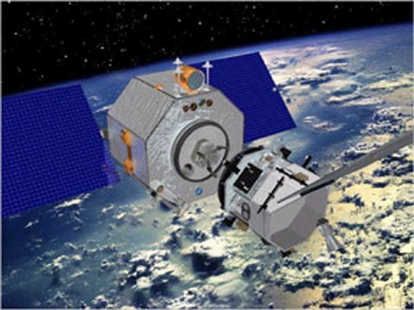 ASTRO, the larger spacecraft on the left, experienced a problem with its guidance system shortly after launch (Illustration: DARPA)