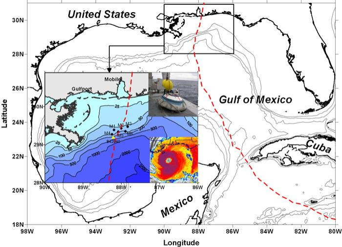Regional map and instrument locations. Bathymetry (in metres) is shown for the north-eastern Gulf of Mexico. Acoustic Doppler current profiler (ADCP) moorings are denoted in black dots (M1 to M6). The yellow triangle is Buoy 42040, National Data Buoy Center. Hurricane Ivan's path is indicated by the dashed red line. Two inserts in the expanded map are a colorized infrared image of Hurricane Ivan taken by the National Oceanic and Atmospheric Administration's GOES-12 satellite (lower right) and a Barny mooring containing the ADCP current meter (upper right)