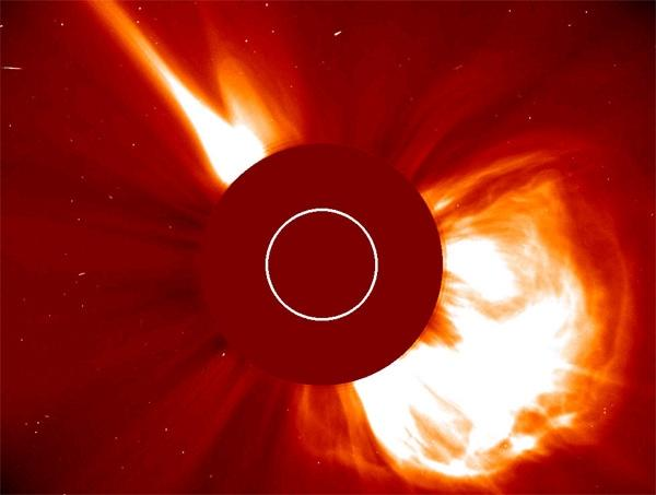 A solar flare much more massive than this one tore apart much of the ozone in Earth's stratosphere in 1859