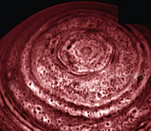 A six-sided feature spanning 25,000 kilometres circles Saturn's north pole in this infrared image taken by Cassini