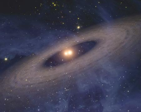 Dusty discs were found around 60% of the stellar pairs that orbit each other closely (Illustration: NASA/JPL-Caltech)