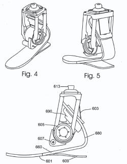 An artificial shin and foot are connected via a powered, rotating ankle joint