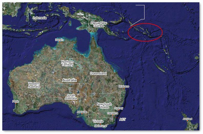 The Solomon Islands (circled) bore the brunt of the tsunami, caused by an earthquake 350 km to the north west of the islands' capital, Honiara