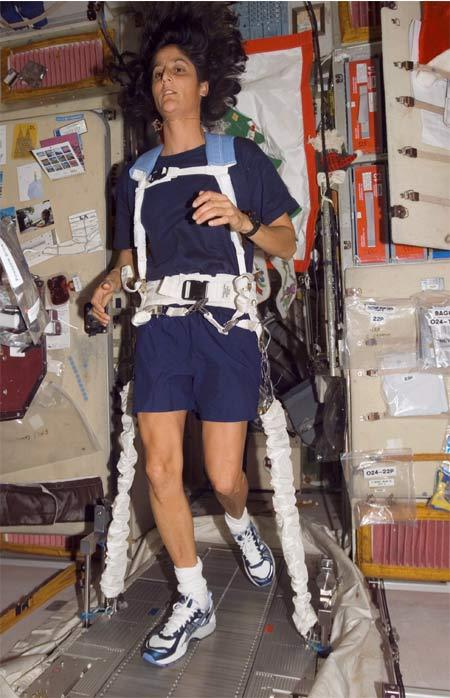 Astronaut Sunita Williams plans to run the Boston Marathon while tethered to a treadmill on the International Space Station
