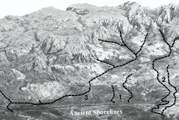 This image, modelled using satellite radar data, shows the hills that surround the ancient lake, and a few ancient rivers (dotted lines)