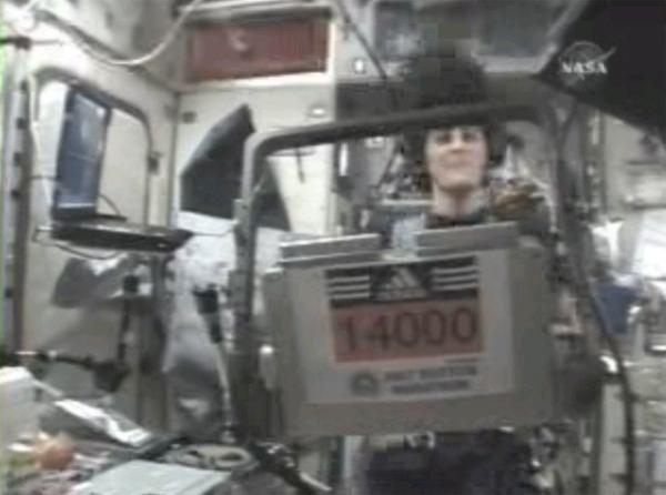 With the race number 14000 posted on the space station's treadmill, US astronaut Sunita Williams ran the Boston Marathon on Monday