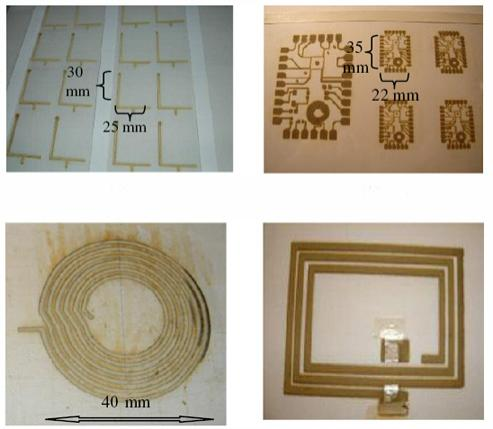 A standard office printer loaded with silver nitrate and vitamin C can produce (clockwise from top-left) mobile phone antennas, circuits, RFID chips and inductive coils on a range of surfaces