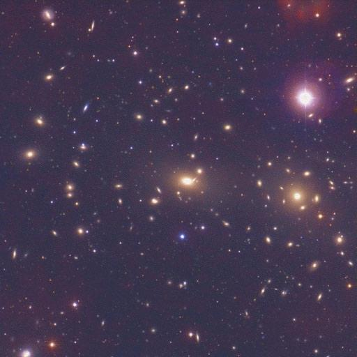 The heart of the Coma cluster of galaxies can be seen in this image taken at visible wavelengths