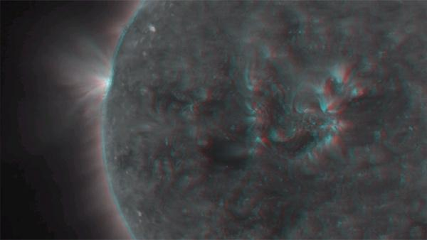 This 3-D image shows activity on the
