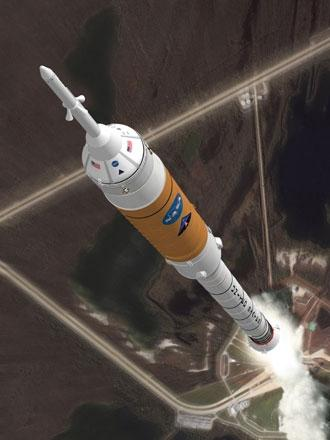 NASA plans to go it alone to build a transportation system to the moon, such as the Ares 1 rocket that will propel a crew capsule into space (Illustration: NASA)