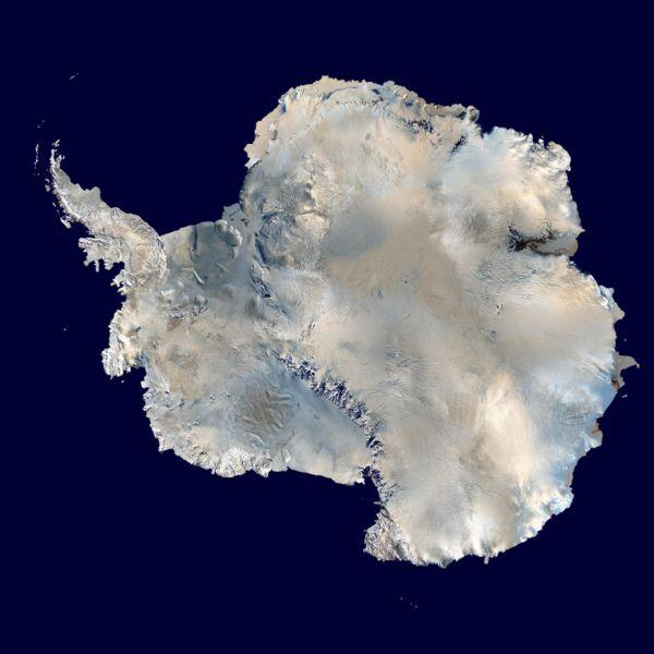 Antarctica: an orthographic projection of NASA's 'Blue Marble' data set